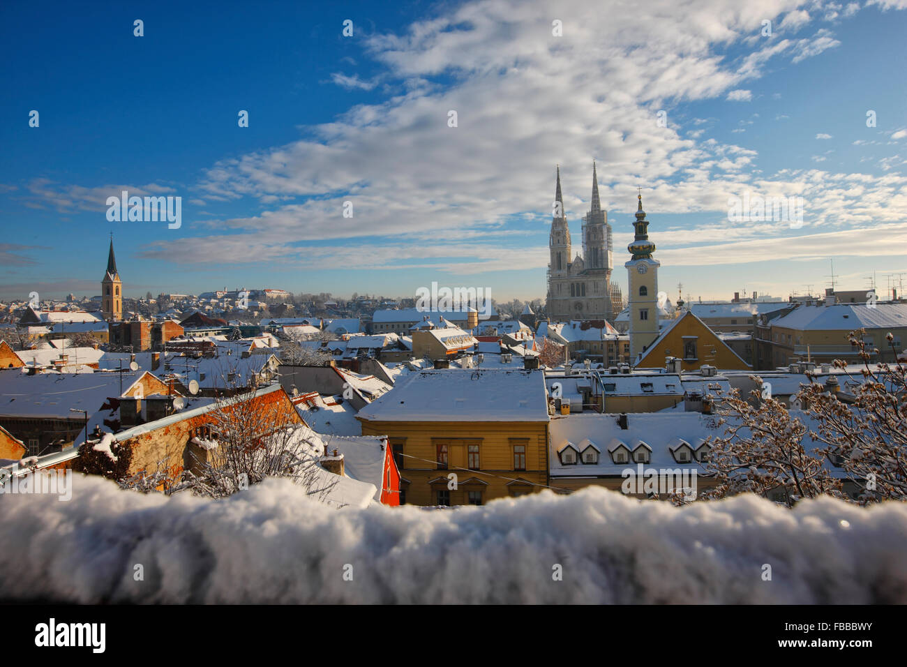 Panoramic view of winter in Zagreb - Stock Image
