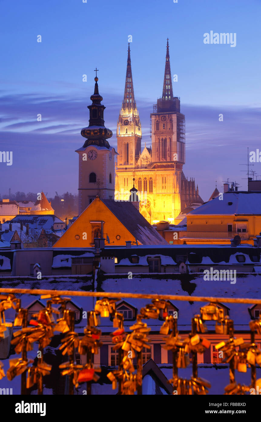 Zagreb Cathedral illuminated in twilight . - Stock Image
