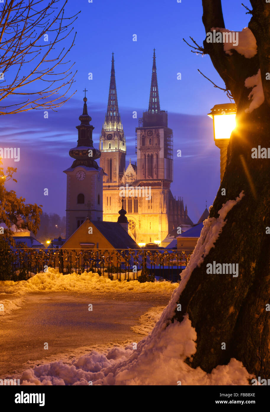 View to Cathedral in Zagreb city - Stock Image