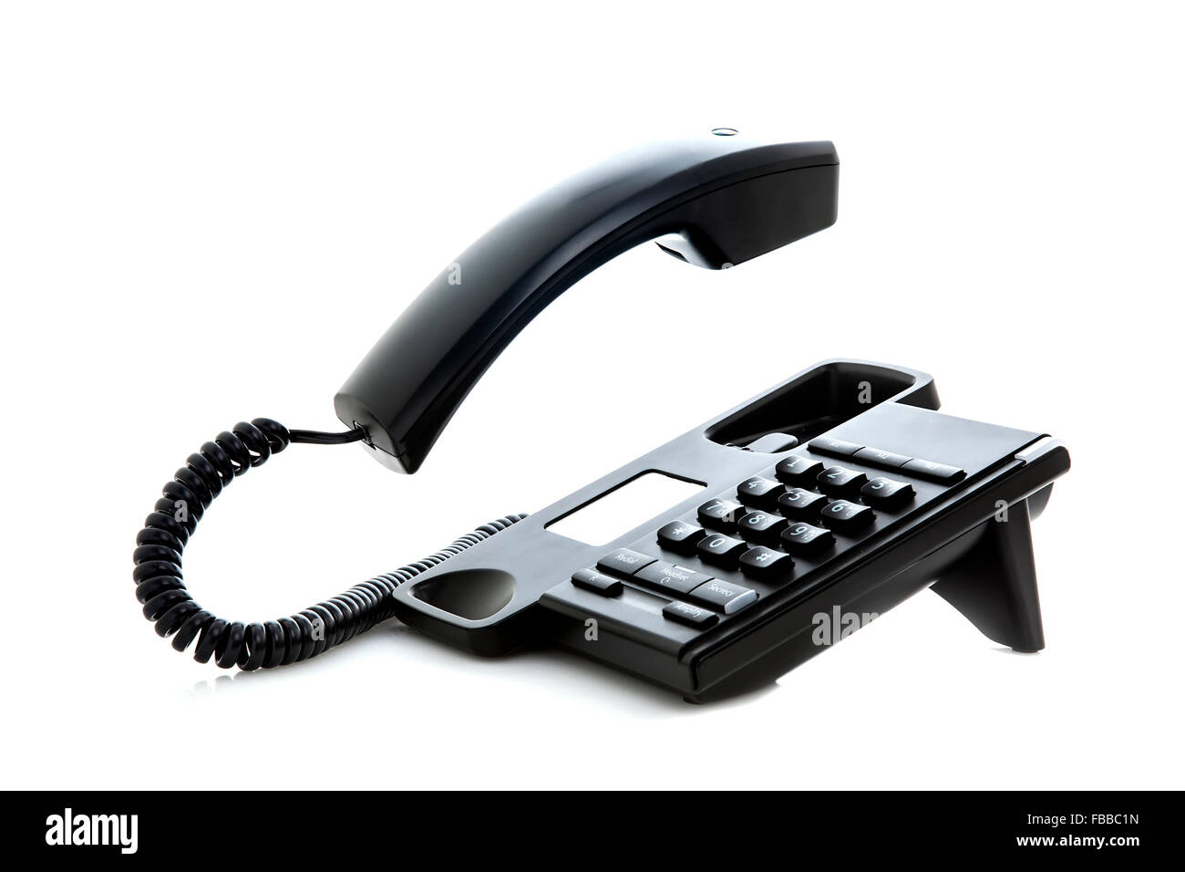 Black phone with floating handset - Stock Image