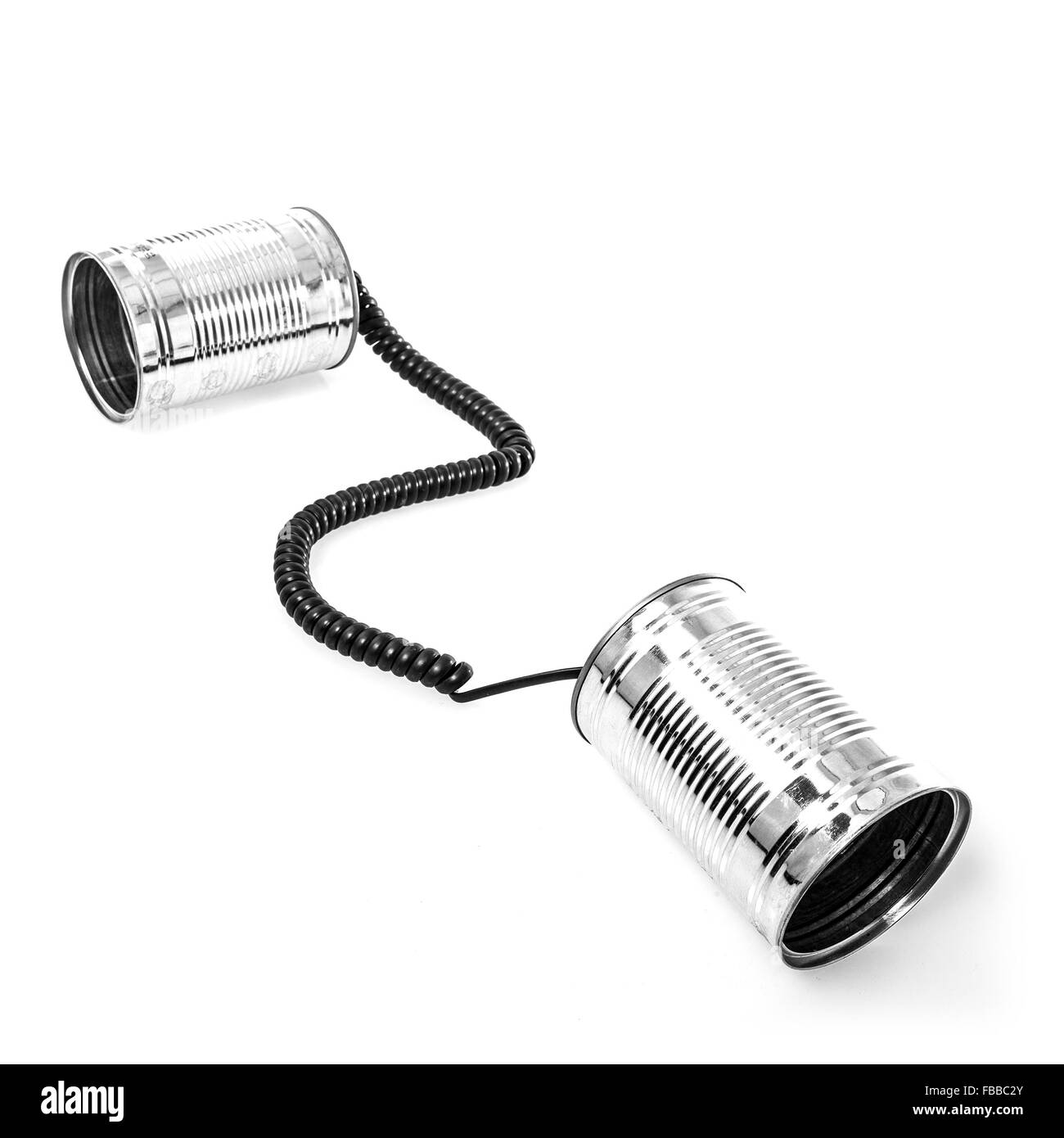 Tin can phones on white background - Stock Image
