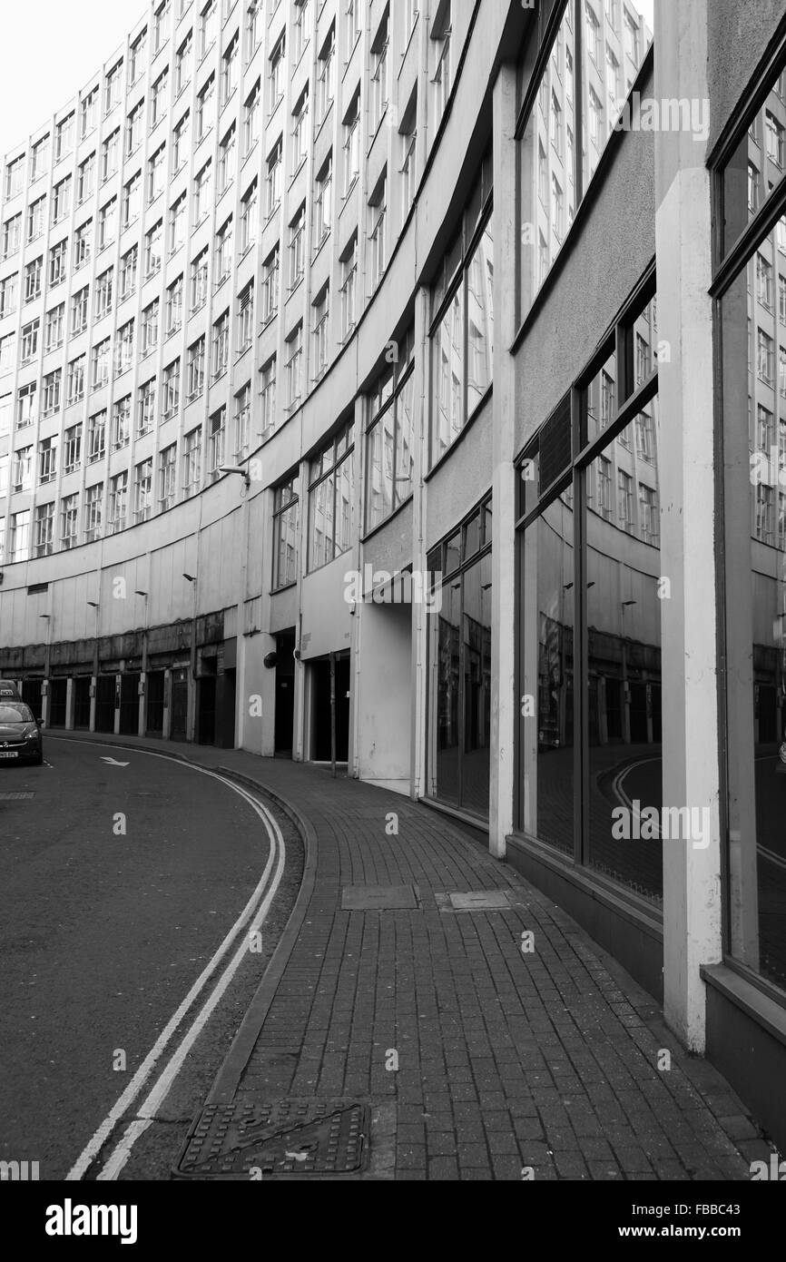 1960's city centre building of 'ultra modern' shops and offices now looking very dated. January 2016 - Stock Image
