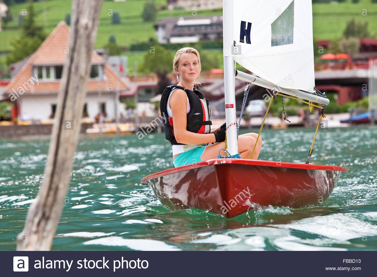sailing on caldaro lake,south tyrol - Stock Image