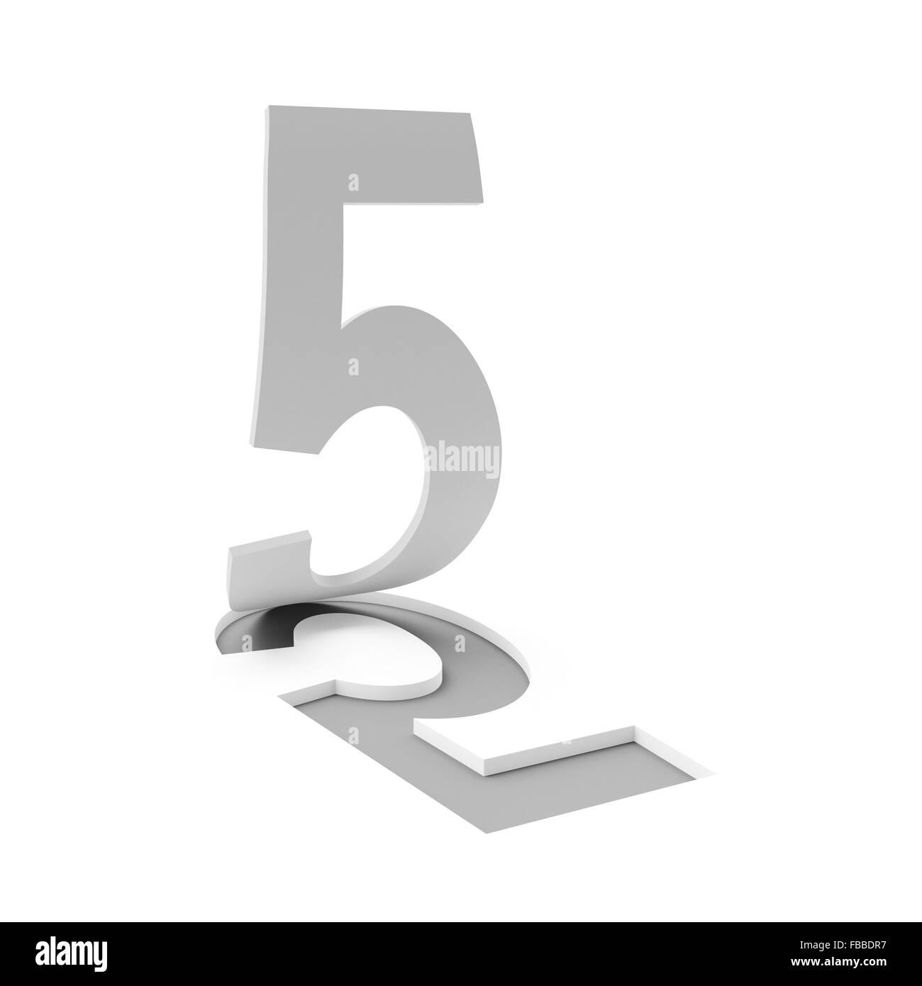 Number five, 3d render - Stock Image