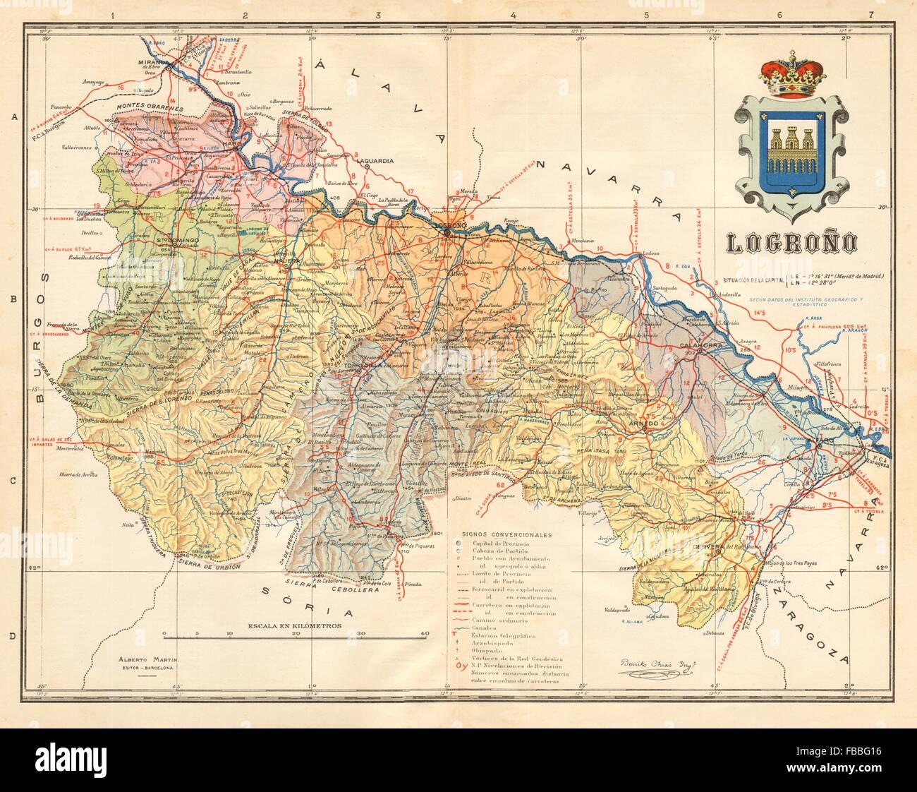 La Rioja Logrono Logrono Mapa Antiguo De La Provincia Alberto