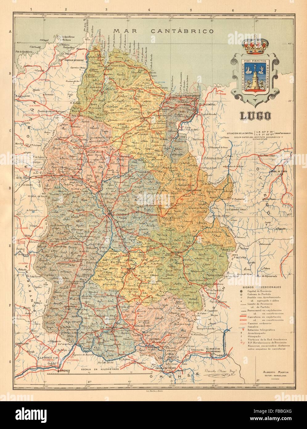 Lugo Galicia Mapa Antiguo De La Provincia Alberto Martin C1911