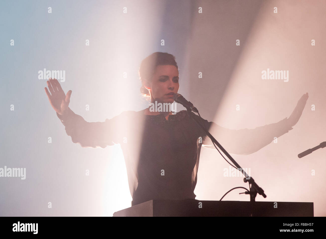 Mina Spiler (vocals and synthesizer) from the Slovenian band Laibach stands on stage in Nuremberg, Germany, 13 January - Stock Image