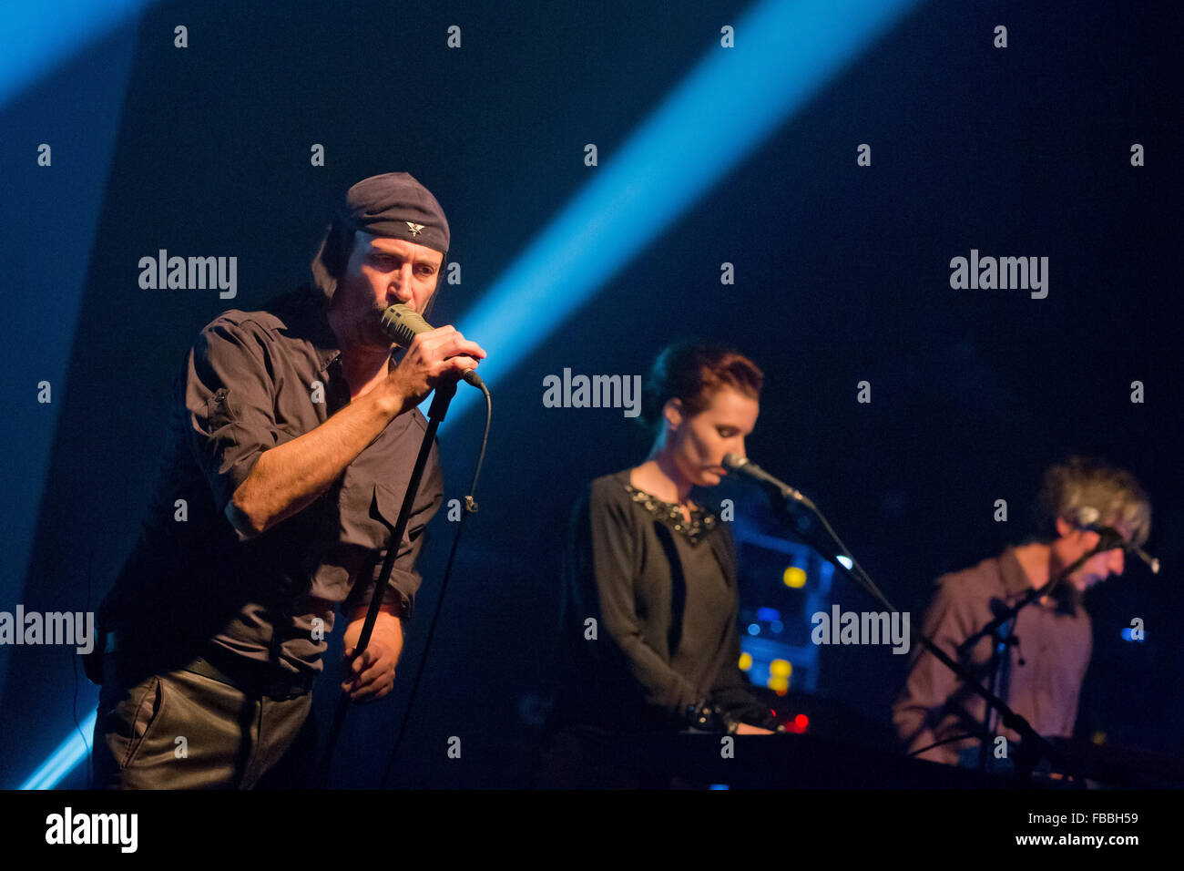 Singer from the Slovenian band Laibach, Milan Fras (L), stands on stage in Nuremberg, Germany, 13 January 2016. - Stock Image