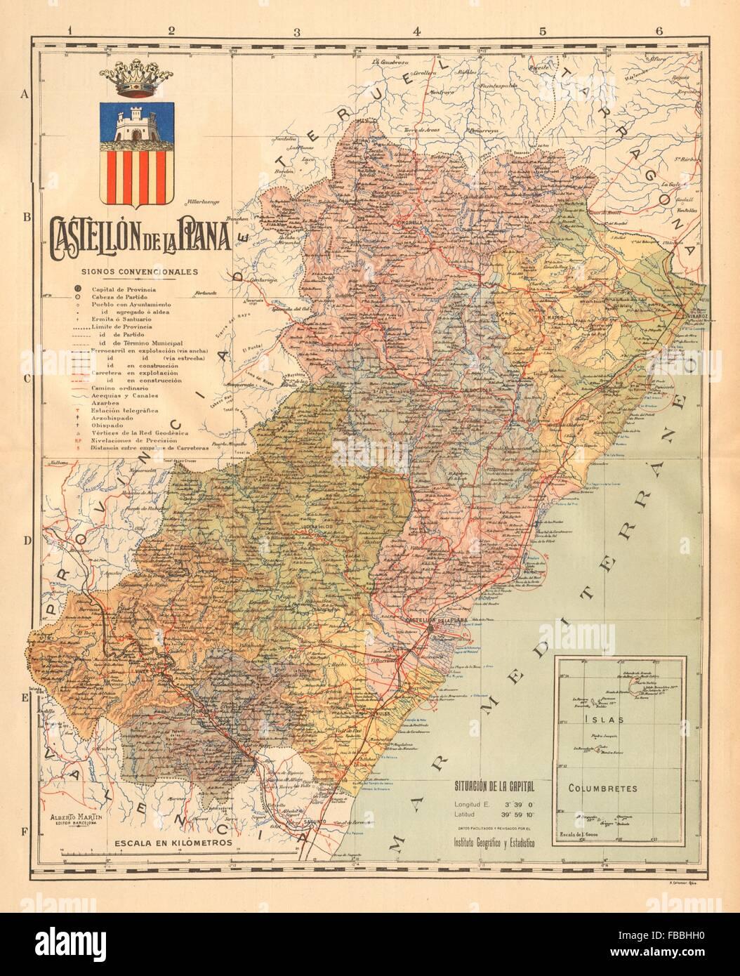 Provincia De Castellón Mapa.Castellon De La Plana Comunitat Valenciana Mapa Antiguo