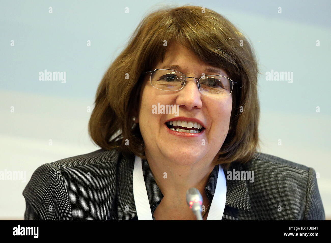 Moscow, Russia. 14th Jan, 2016. Associate professor at Columbia Unversity, Cynthia Roberts at the 2016 Gaidar Forum, - Stock Image