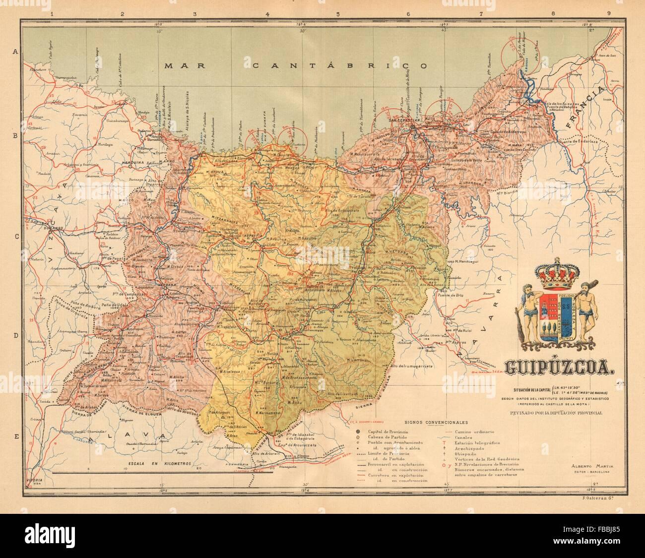 Mapa San Sebastian Provincia.Gipuzkoa Guipuzcoa San Sebastian Euskadi Mapa Antiguo