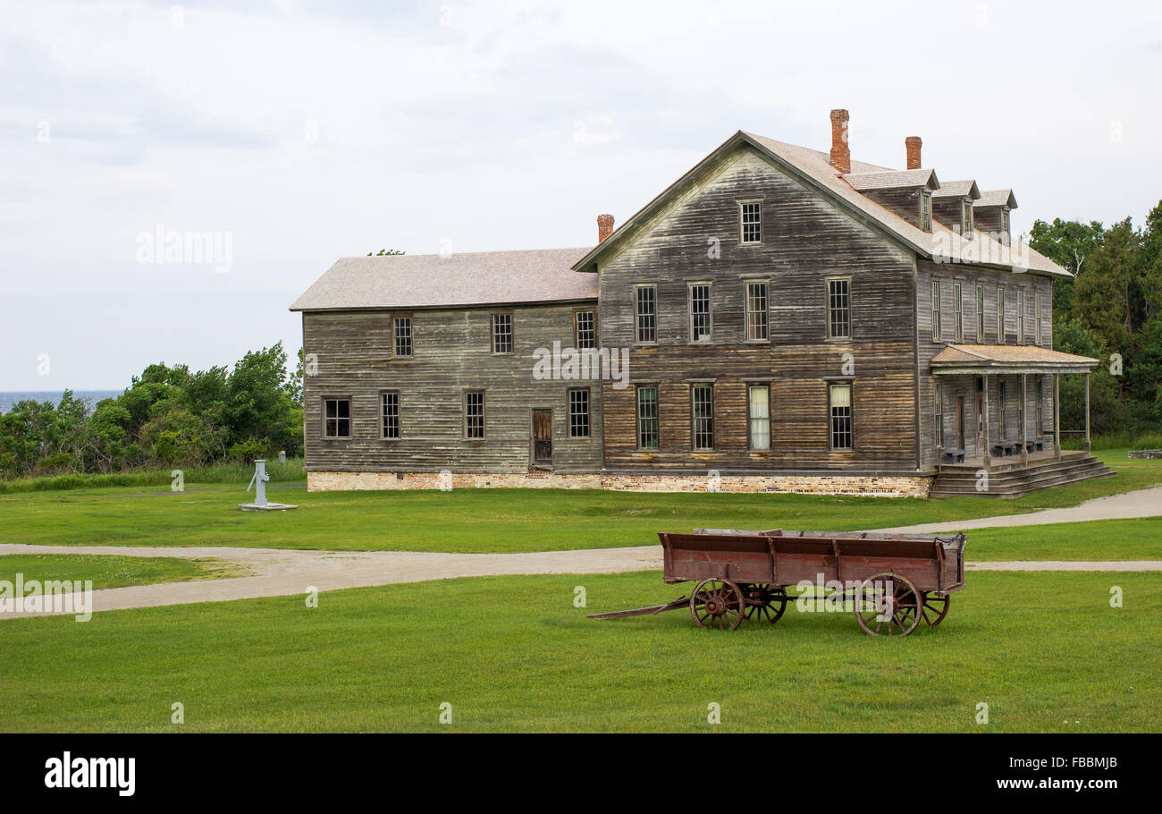 Historical hotel and boarding house in the abandoned ghost town of Fayette Michigan. Fayette State Historical Park. - Stock Image