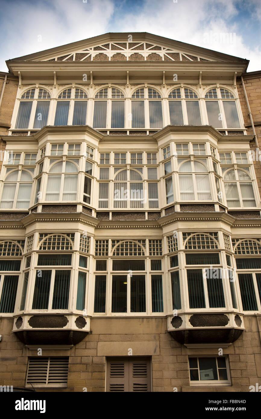 UK, England, Derbyshire, Matlock, Smedley Street, Smedley's Hydro North Annexe bay windows - Stock Image