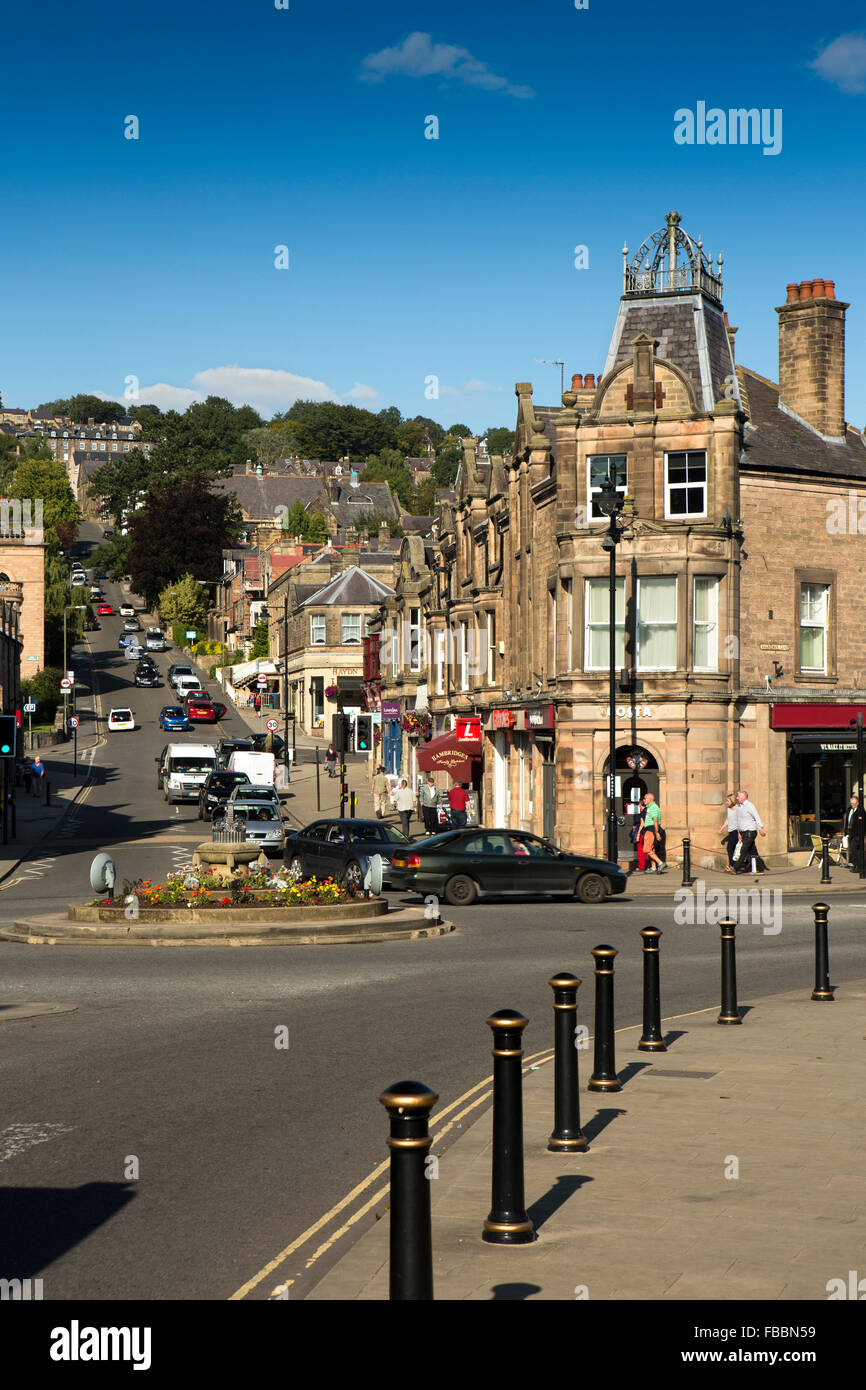 UK, England, Derbyshire, Matlock, Crown Square, Crown Buildings at junction of Bank Road and Causeway Lane - Stock Image