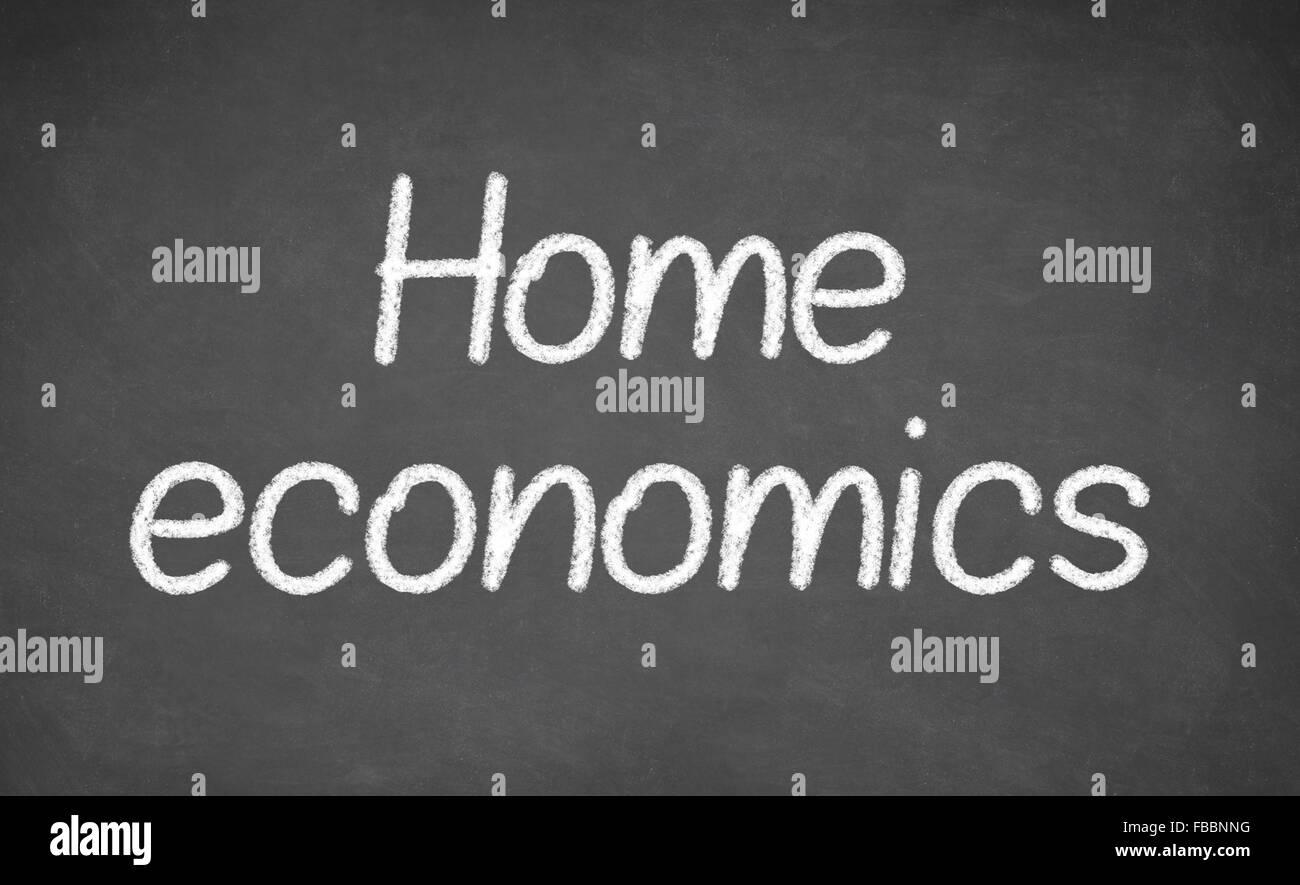 home economics lesson on blackboard or chalkboard stock photo