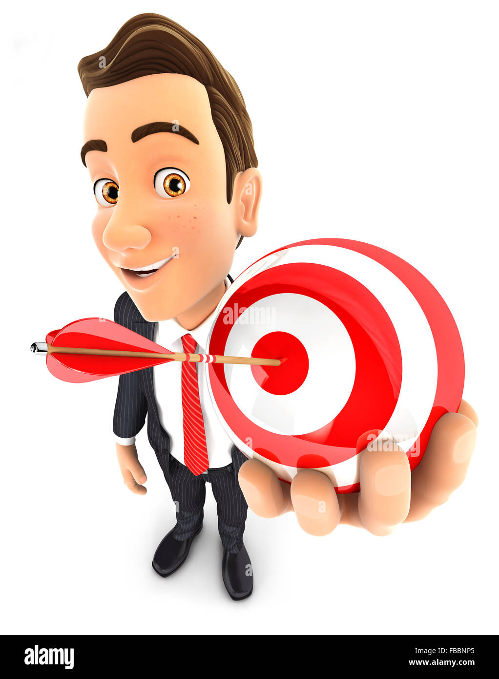 3d businessman holding a sphere target, isolated white background Stock Photo