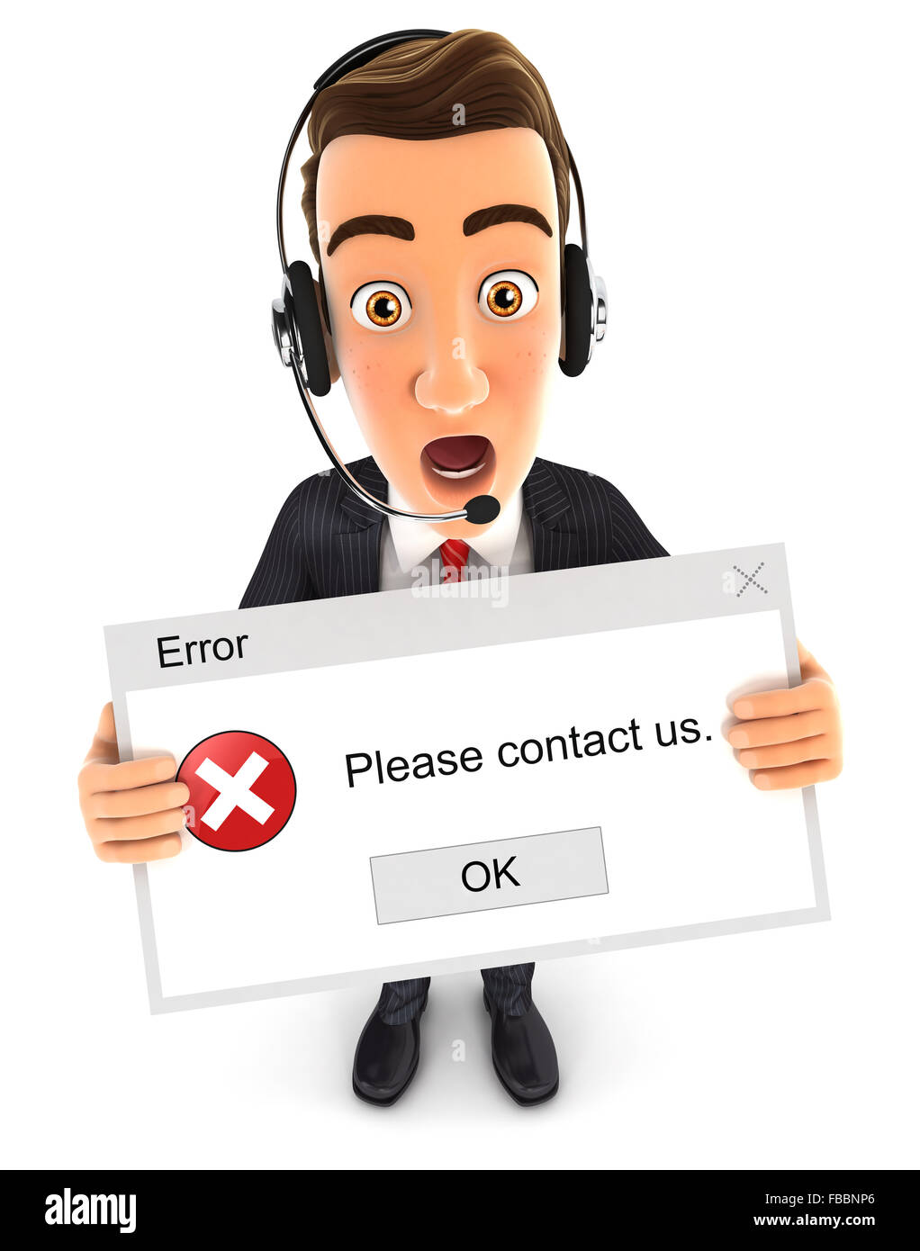 3d businessman holding an error message, isolated white background Stock Photo