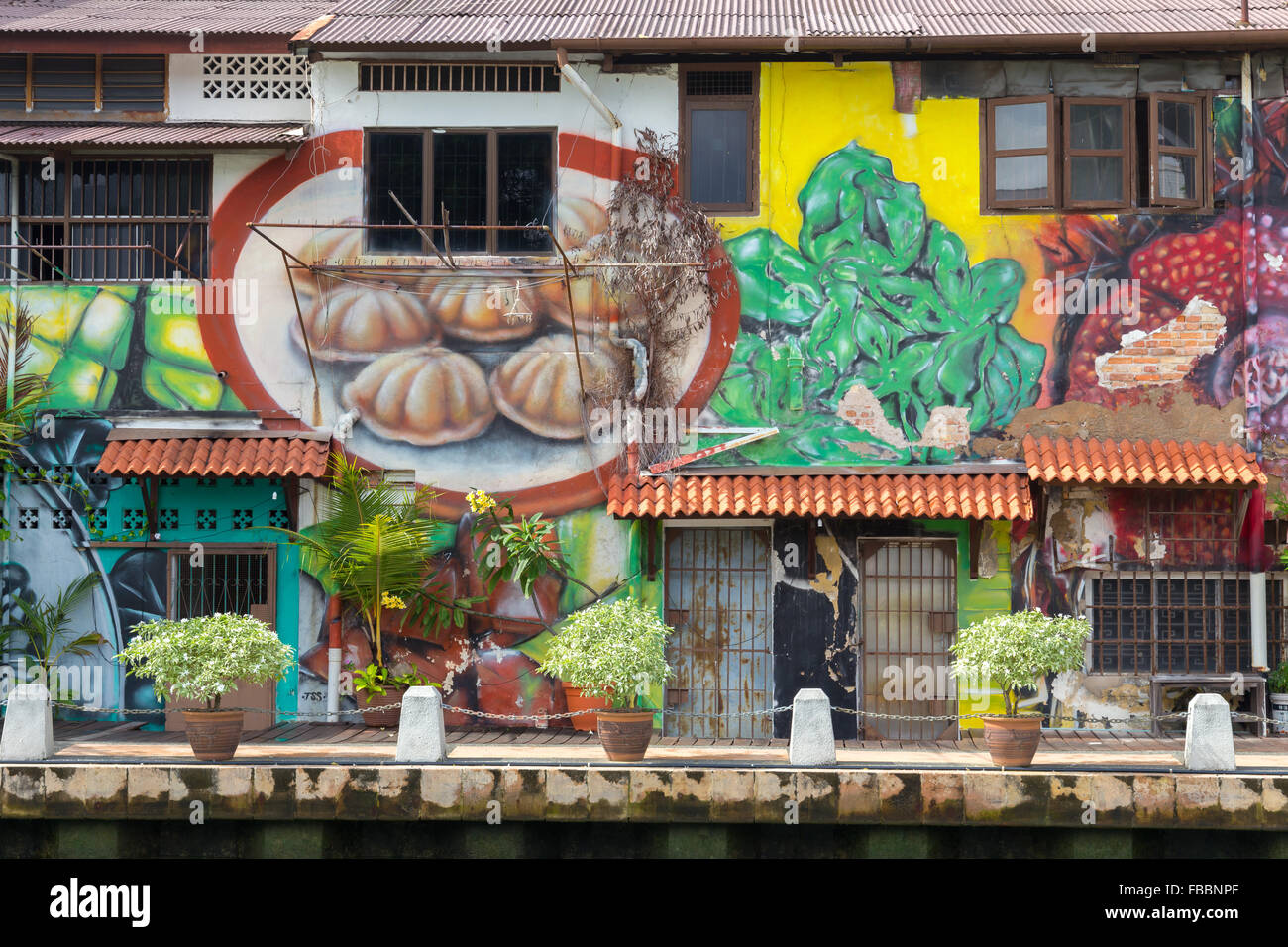colorful wall murals malacca river stock photos colorful wall