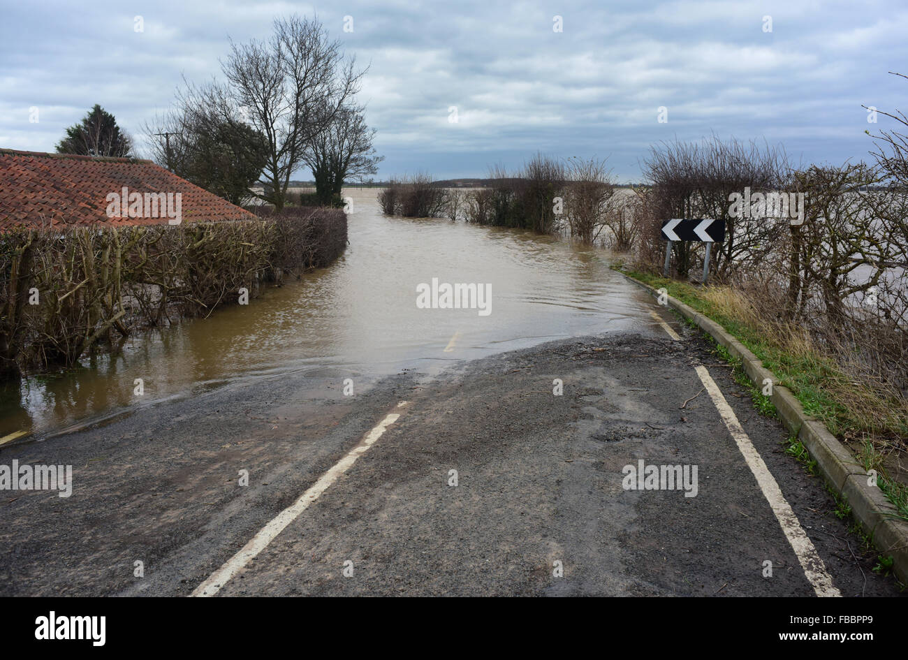 Cawood Bridge, Yorkshire, UK. 30th Dec, 2015 flood covered road at cawoood yorkshire after the river ouse burst - Stock Image