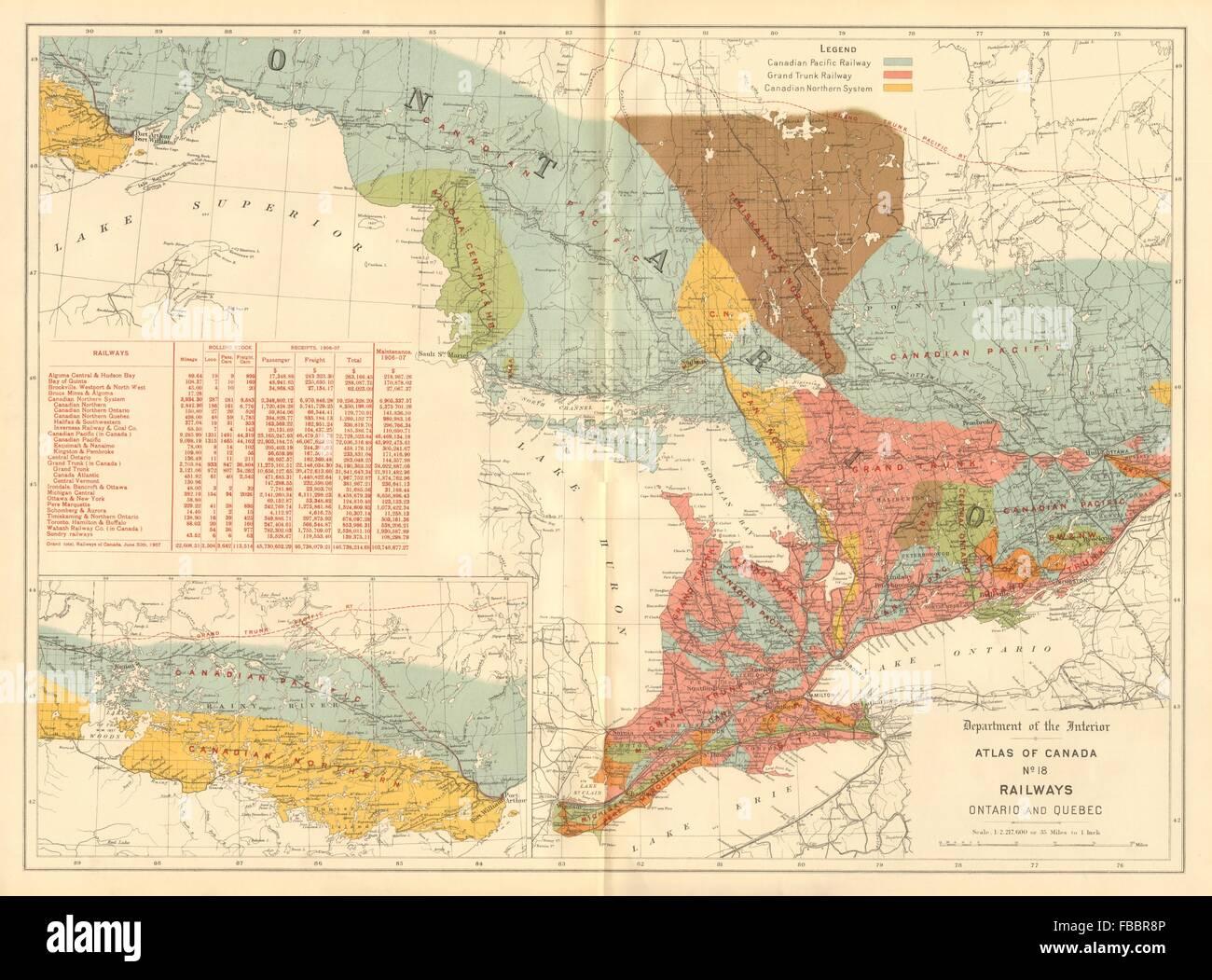 Map Of Northern Quebec Canada.Canada Railways Ontario Quebec Grand Trunk Canadian Stock