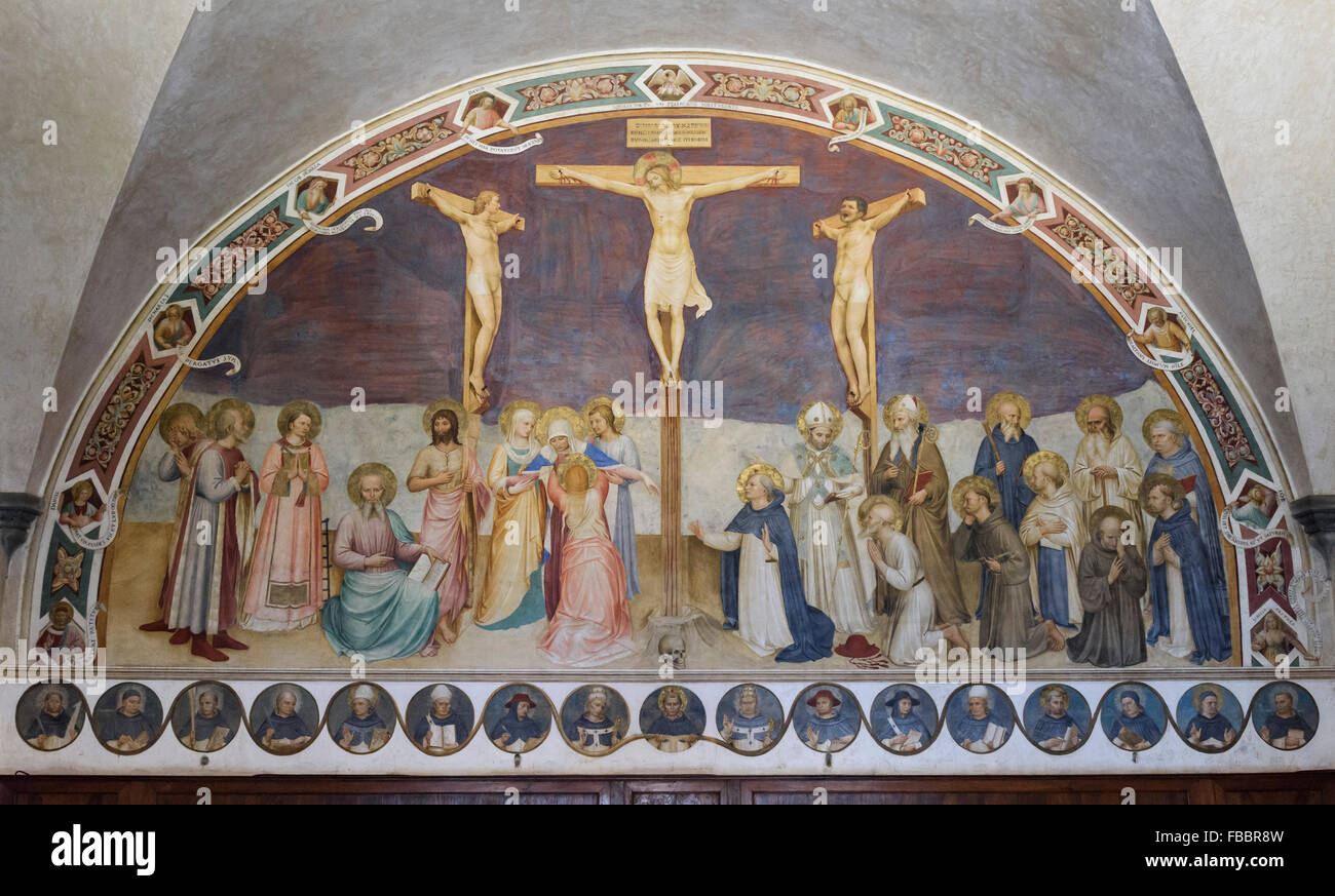 Florence. Italy. Museum of San Marco. The Crucifixion and Saints, fresco, by Fra Angelico and assistants (1441-1442). - Stock Image