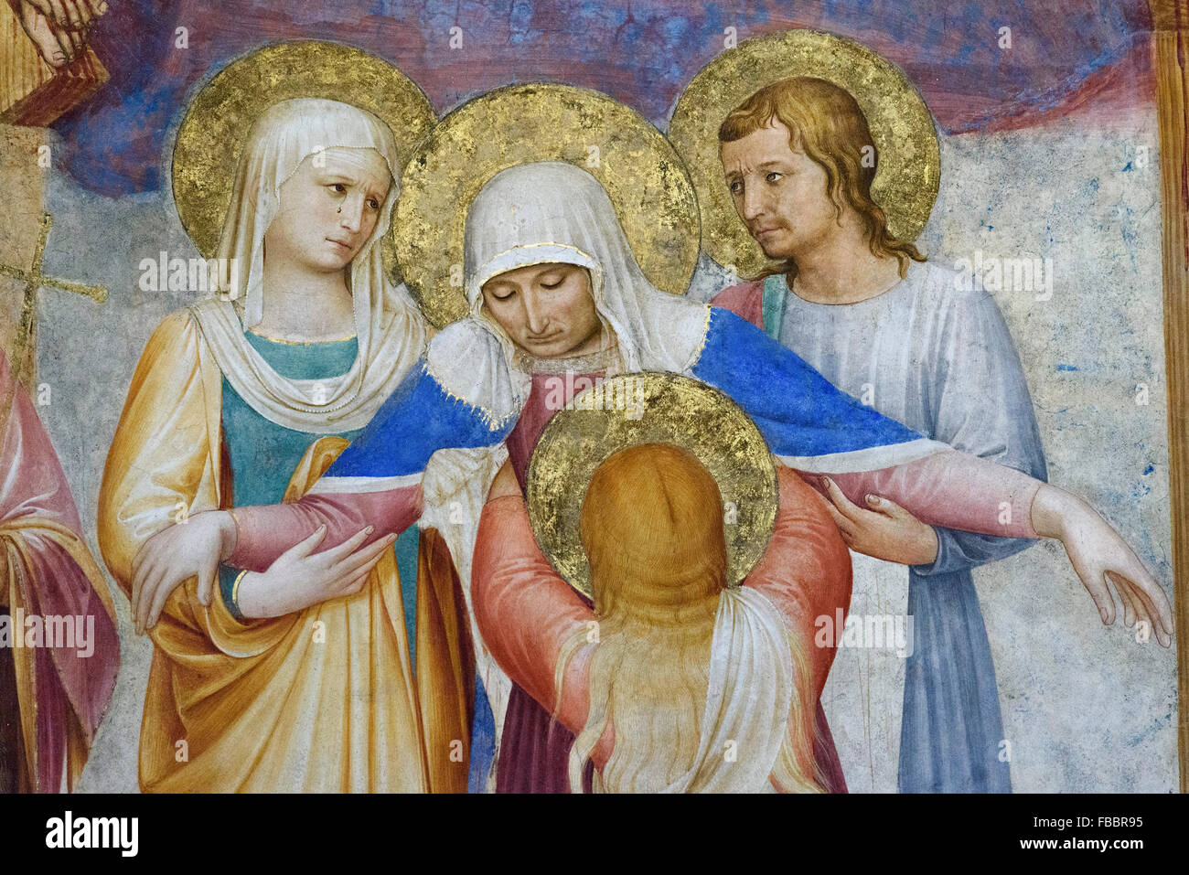 Florence. Italy. Museum of San Marco. The Crucifixion and Saints (detail), fresco, by Fra Angelico and assistants - Stock Image