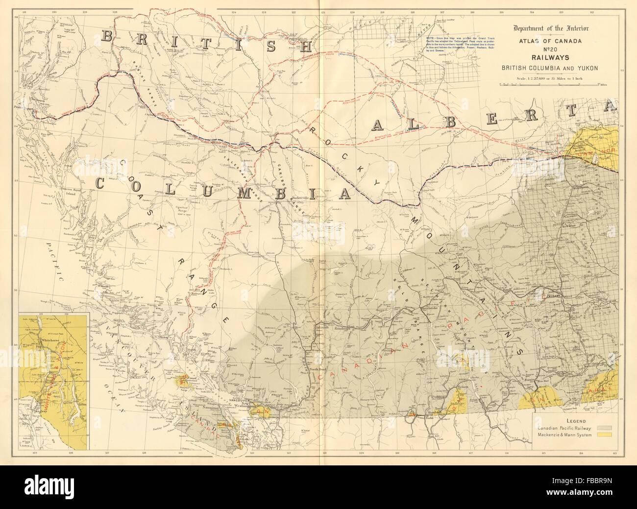 Canada railways british columbia yukon canadian pacific stock british columbia yukon canadian pacific mackenzie 1906 map gumiabroncs Image collections