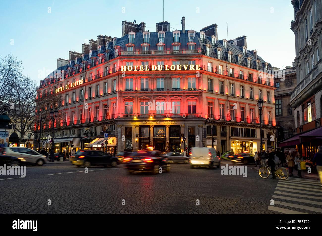 Grand Hotel du louvre at Place du Palais-Royal, in Paris at sunset. Ile-de-France, Paris, France. - Stock Image