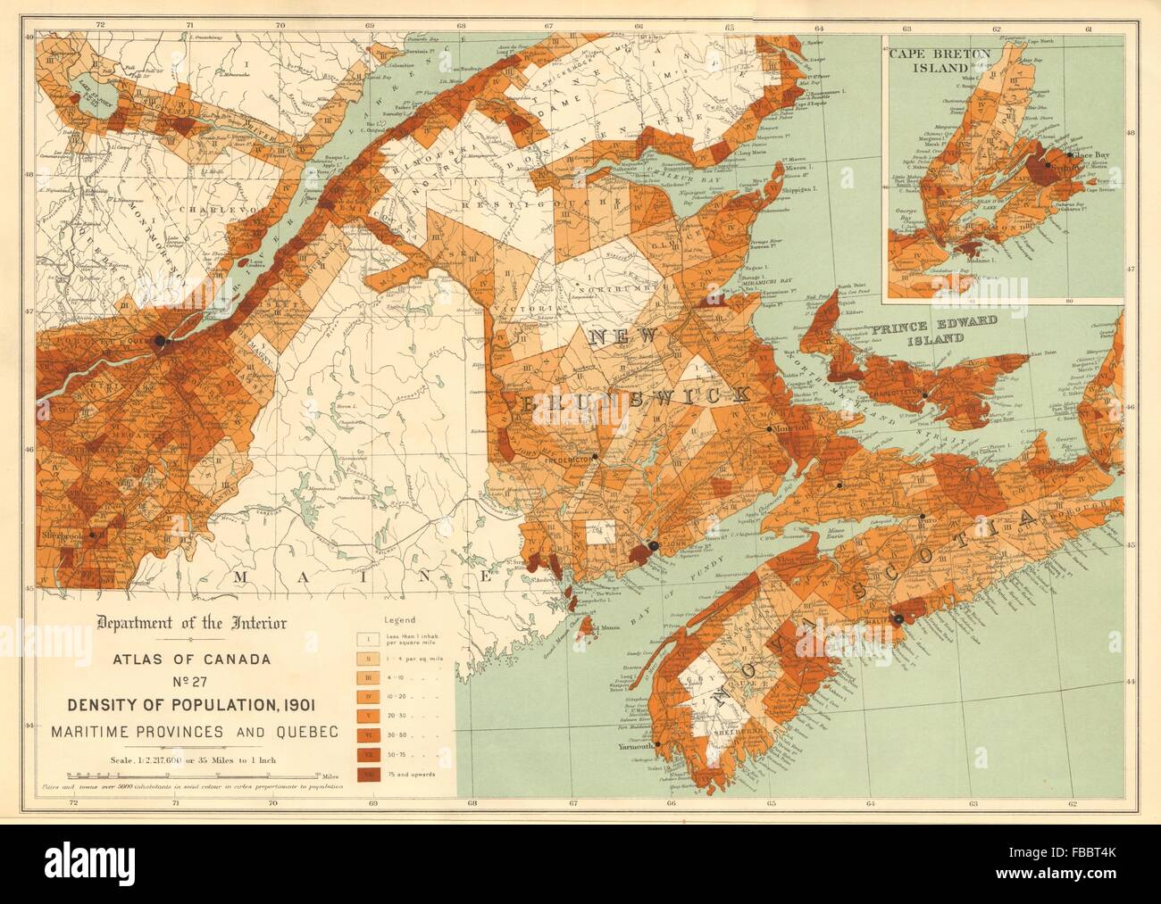 Map Of Canada Population Density.Canada Population Density 1901 Maritime Provinces And Quebec White