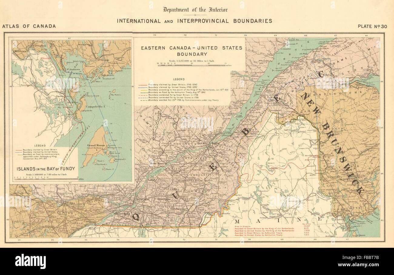 US-CANADA BOUNDARY DISPUTE. Ashburton Treaty 1842. Maine ...