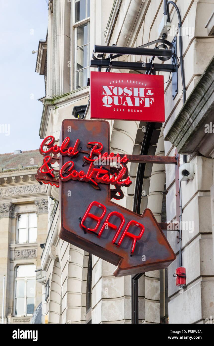 Nosh & Quaff Bar and Restaurant in Birmingham City centre - Stock Image