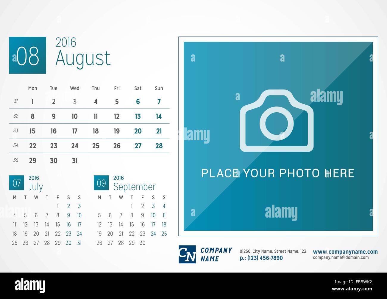 desk calendar 2016 vector print template august week starts