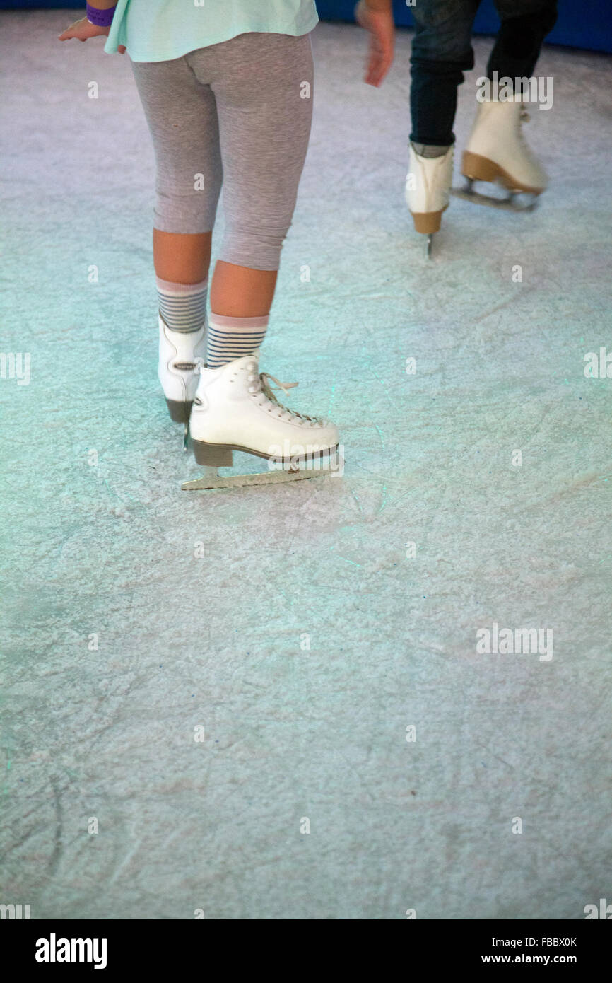 Kids Learning to Ice Skate - Stock Image