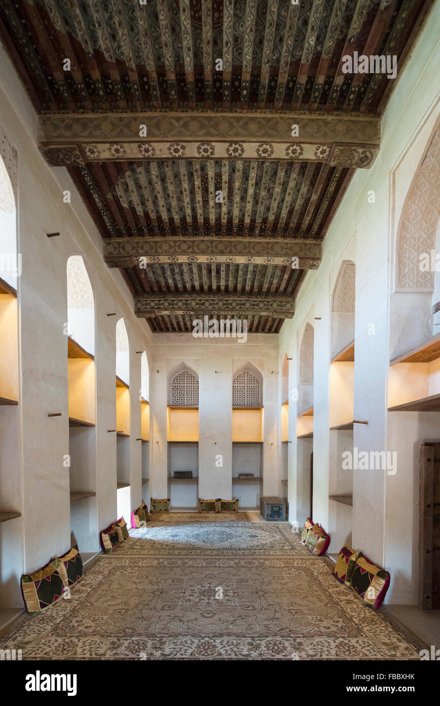 Interior of Sun and Moon Room at Jabrin Fort in Oman - Stock Image