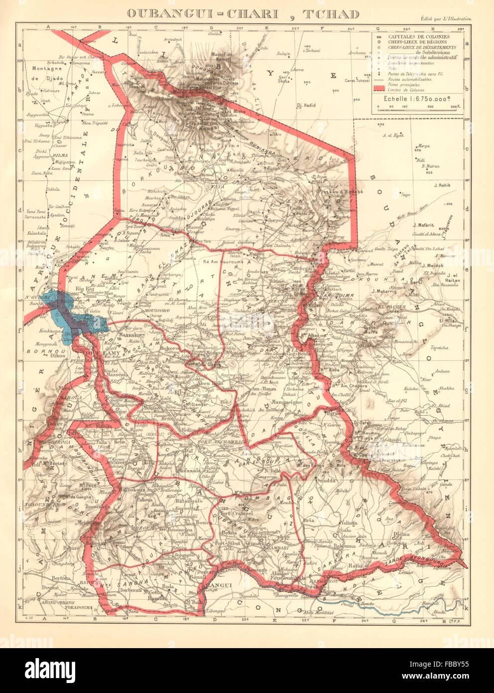 FRENCH COLONIAL CHAD & UBANGI-SHARI (C.A.R.). Oubangui-Chari Tchad, 1938 map - Stock Image