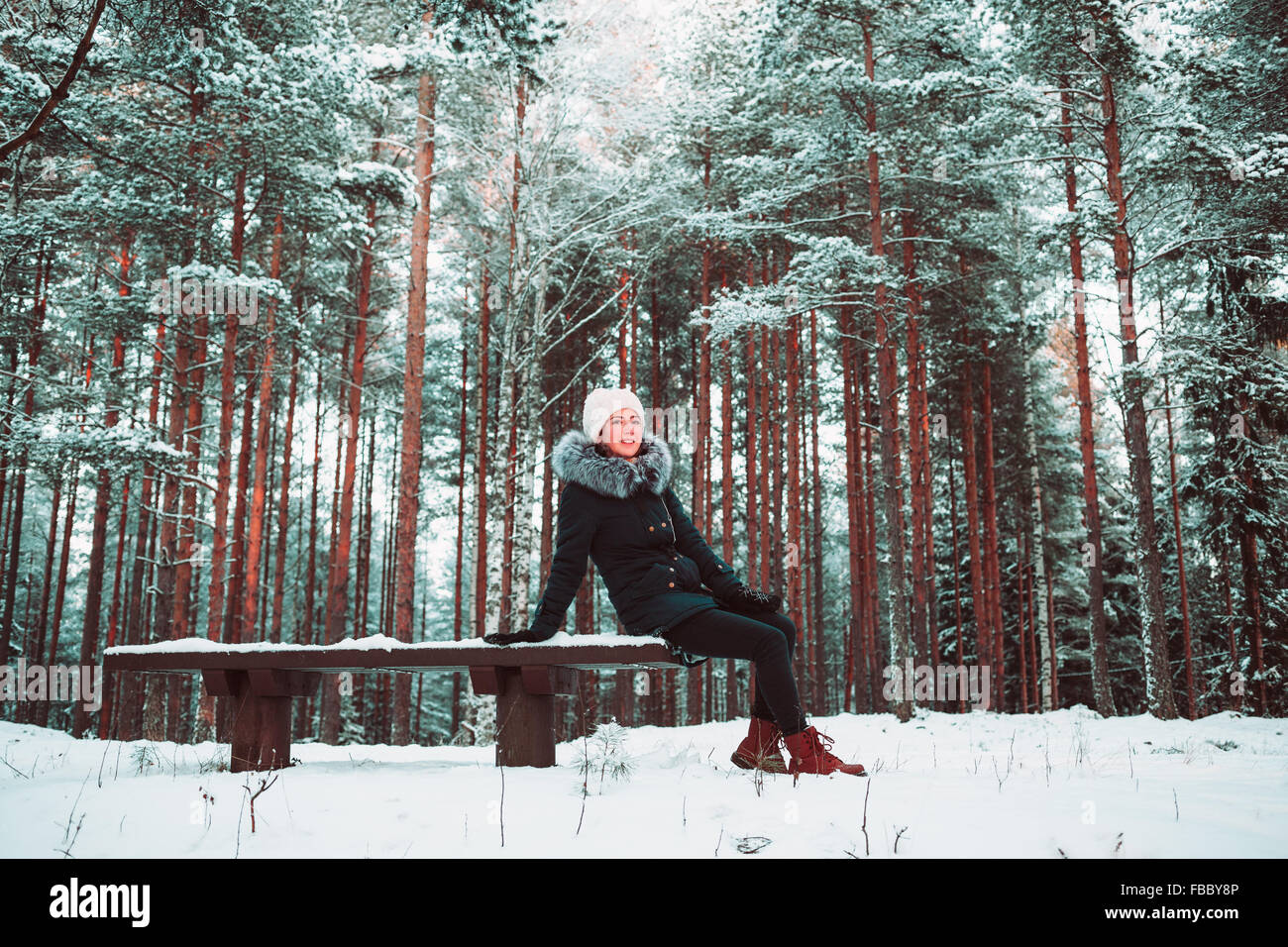 Slender girl sits on a bench in the winter. Stock Photo