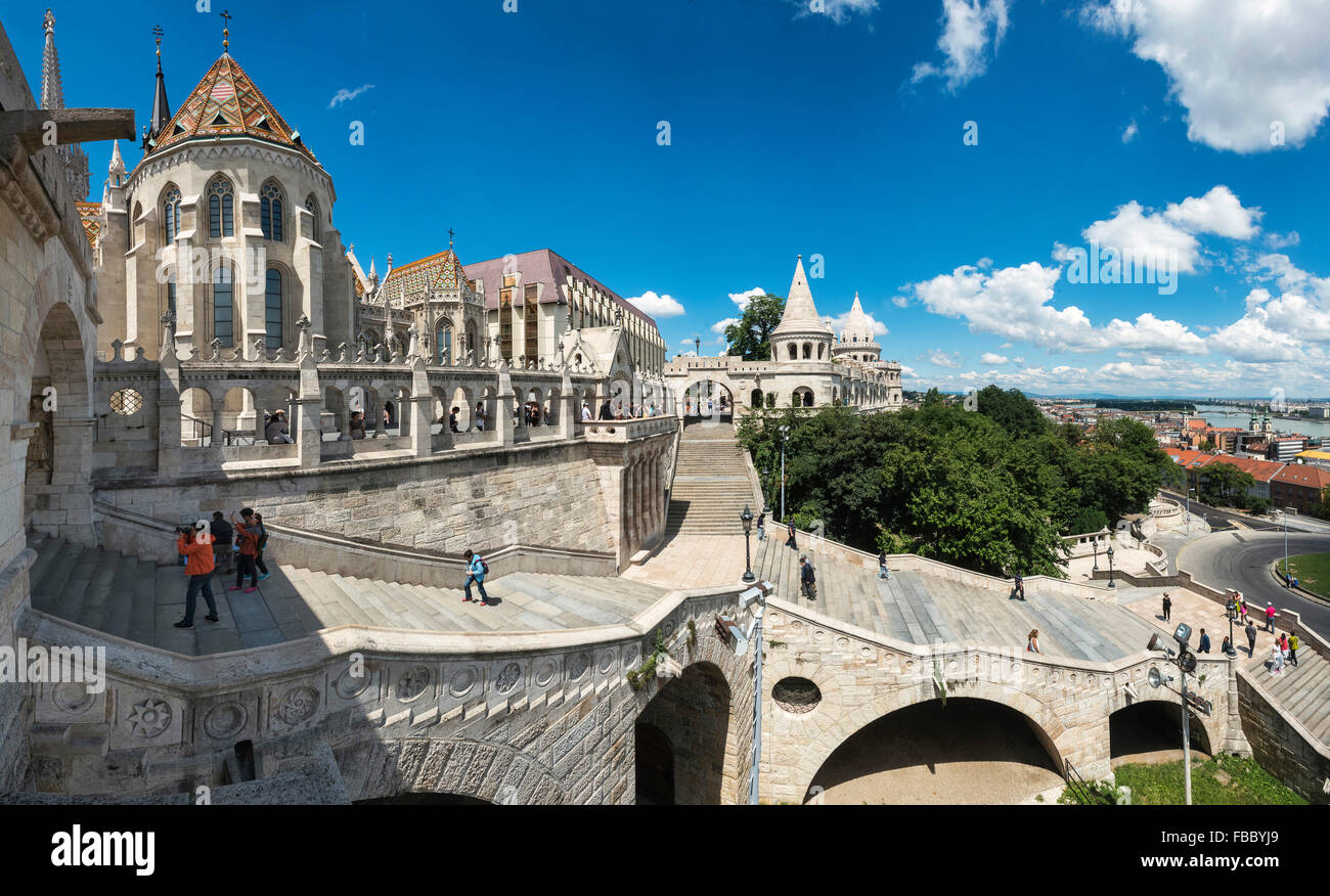 Matyas Church, Castle District, Budapest, Hungary, Fishermans Bastion, - Stock Image