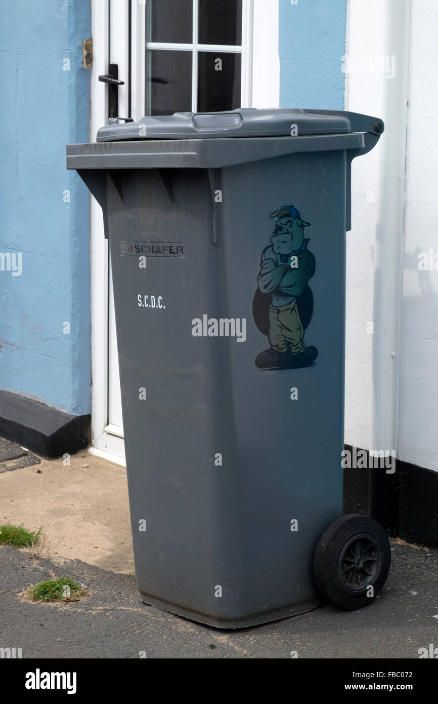Local authority wheely bin with cartoon bull dog - Stock Image