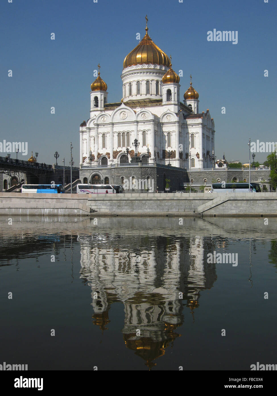 Cathedral of Jesus Christ Saviour in Moscow, view from the river with reflection. Date of recording 30.04.2008. - Stock Image