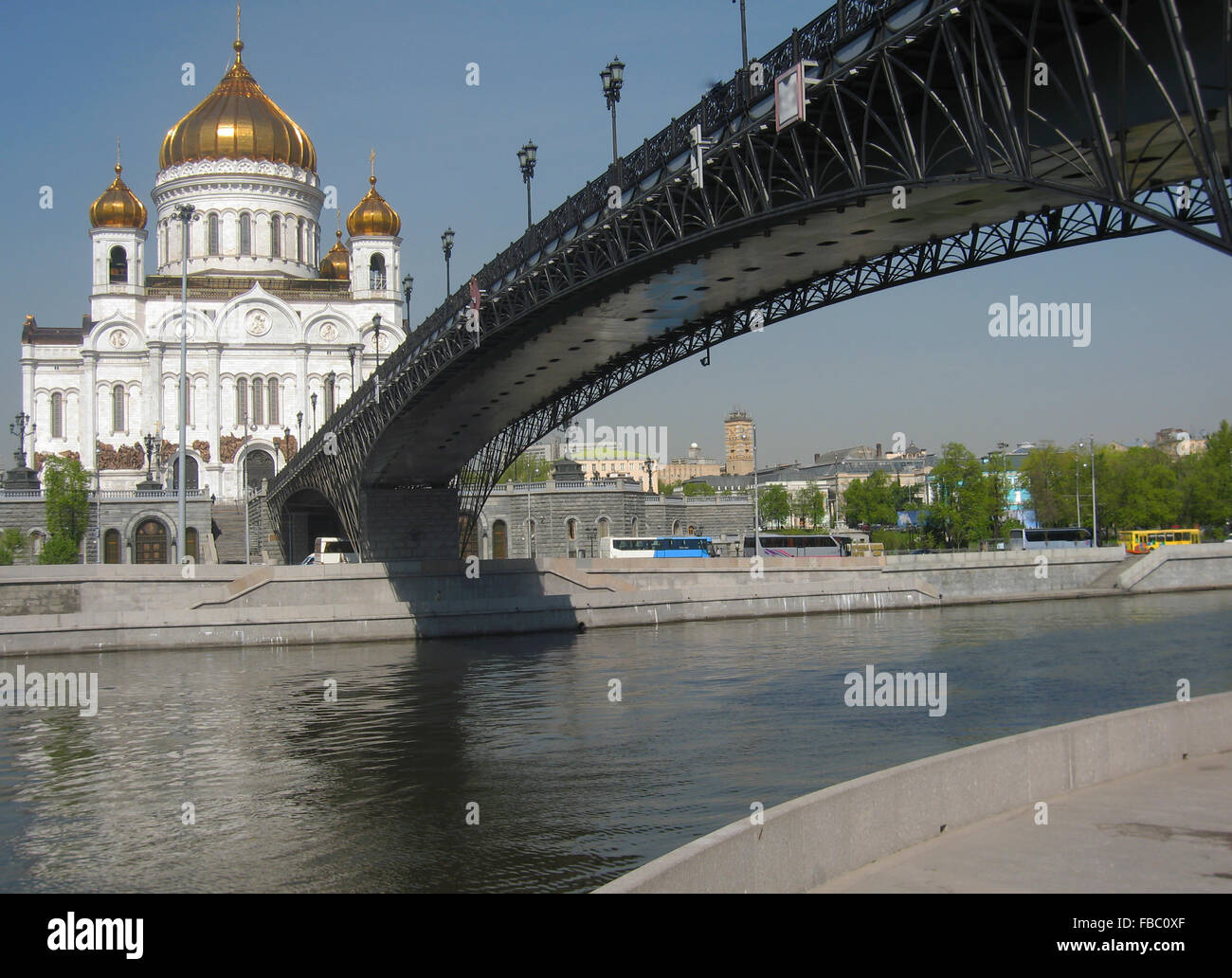 Cathedral of jesus Christ Saviour - the biggest in Moscow, river and bridge. Date of recording 30.04.2008. - Stock Image