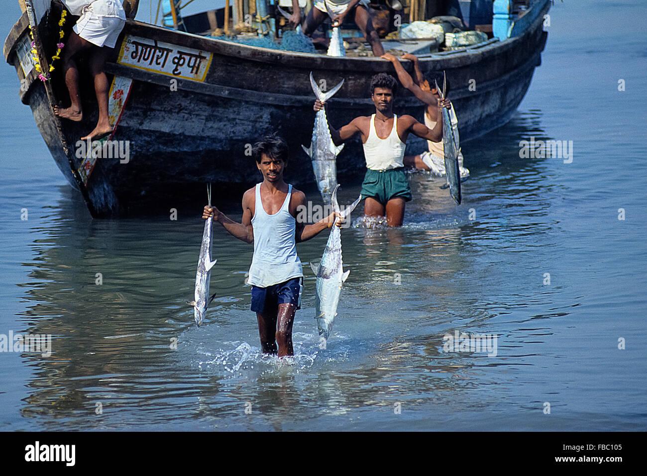India Mumbai Bombay Macchimar Nagar Fishing Village - Stock Image