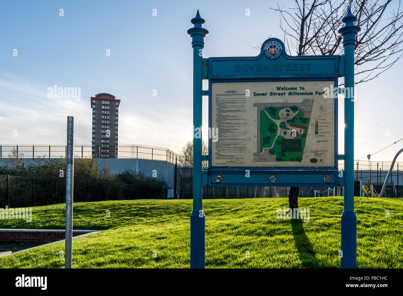 Dover Street play park in Shankill Road Belfast with Divis Tower in background. - Stock Image