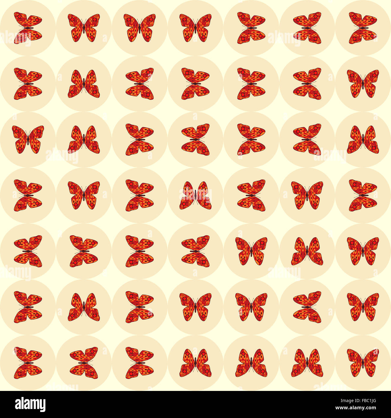 Tiled pattern of red butterflies on a light background. Digital art. - Stock Image
