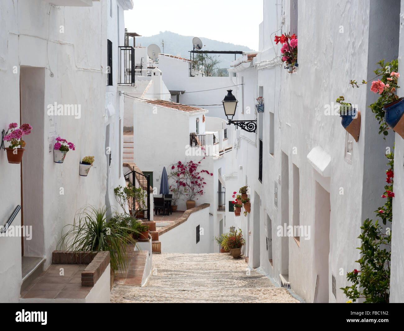 Street in Frigiliana a white town near Nerja, Costa Del Sol, Andalusia, Spain, - Stock Image