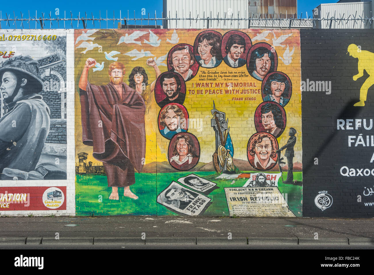 Irish Hunger Striker Mural on Belfast's International Wall on the Falls Road. - Stock Image