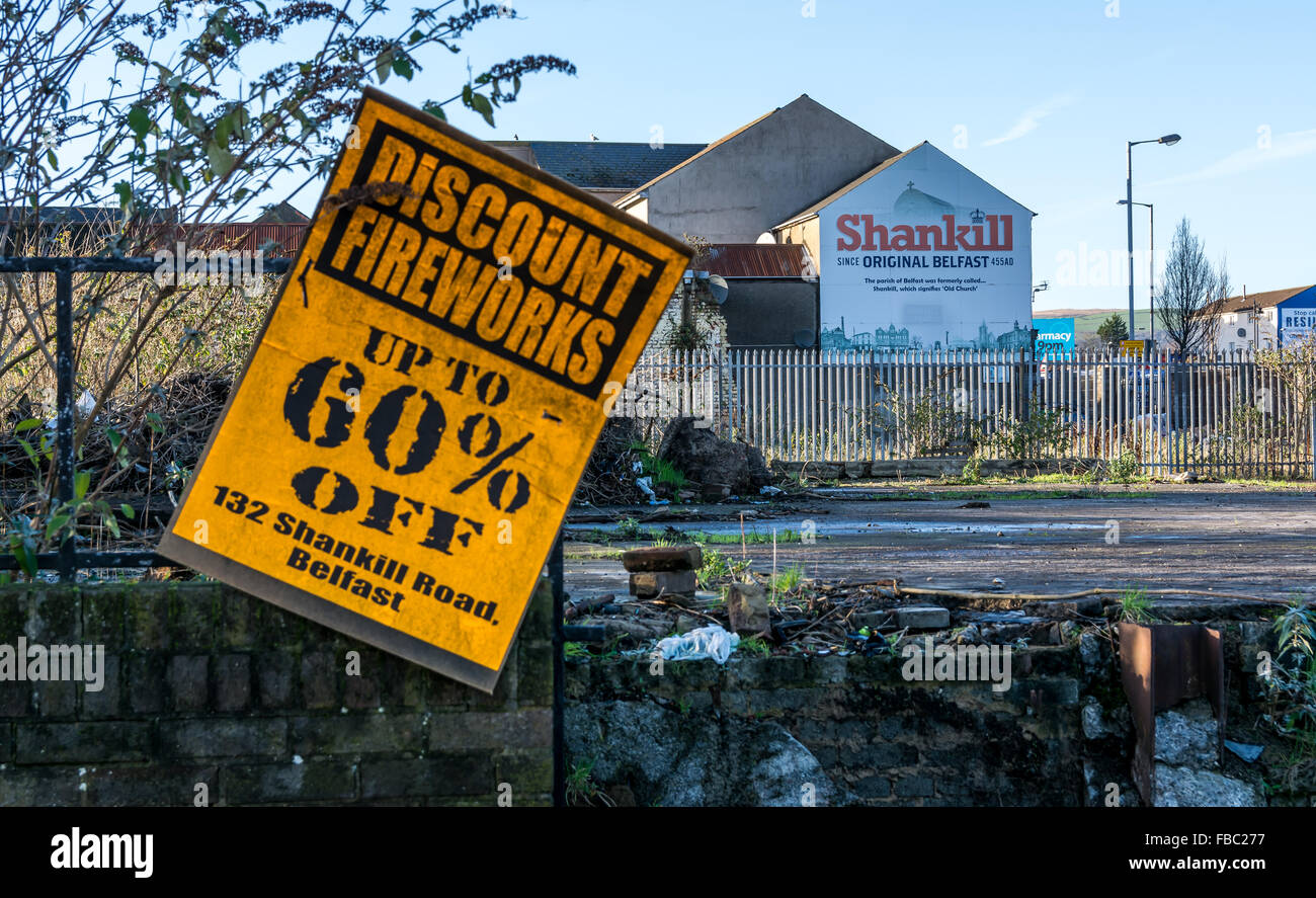 Fireworks sign at entry to Shankill Road area of West Belfast - Stock Image