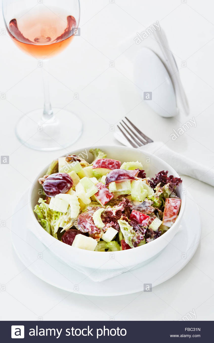 Waldorf slad served with wine - Stock Image