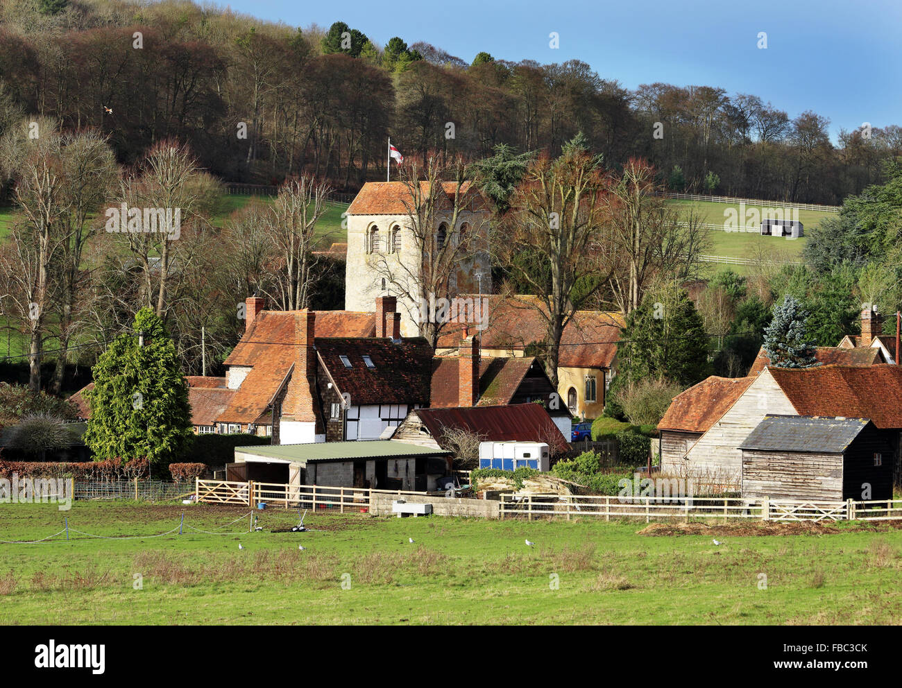 An English Rural Hamlet in the Chiltern Hills bathed in Winter sunshine - Stock Image