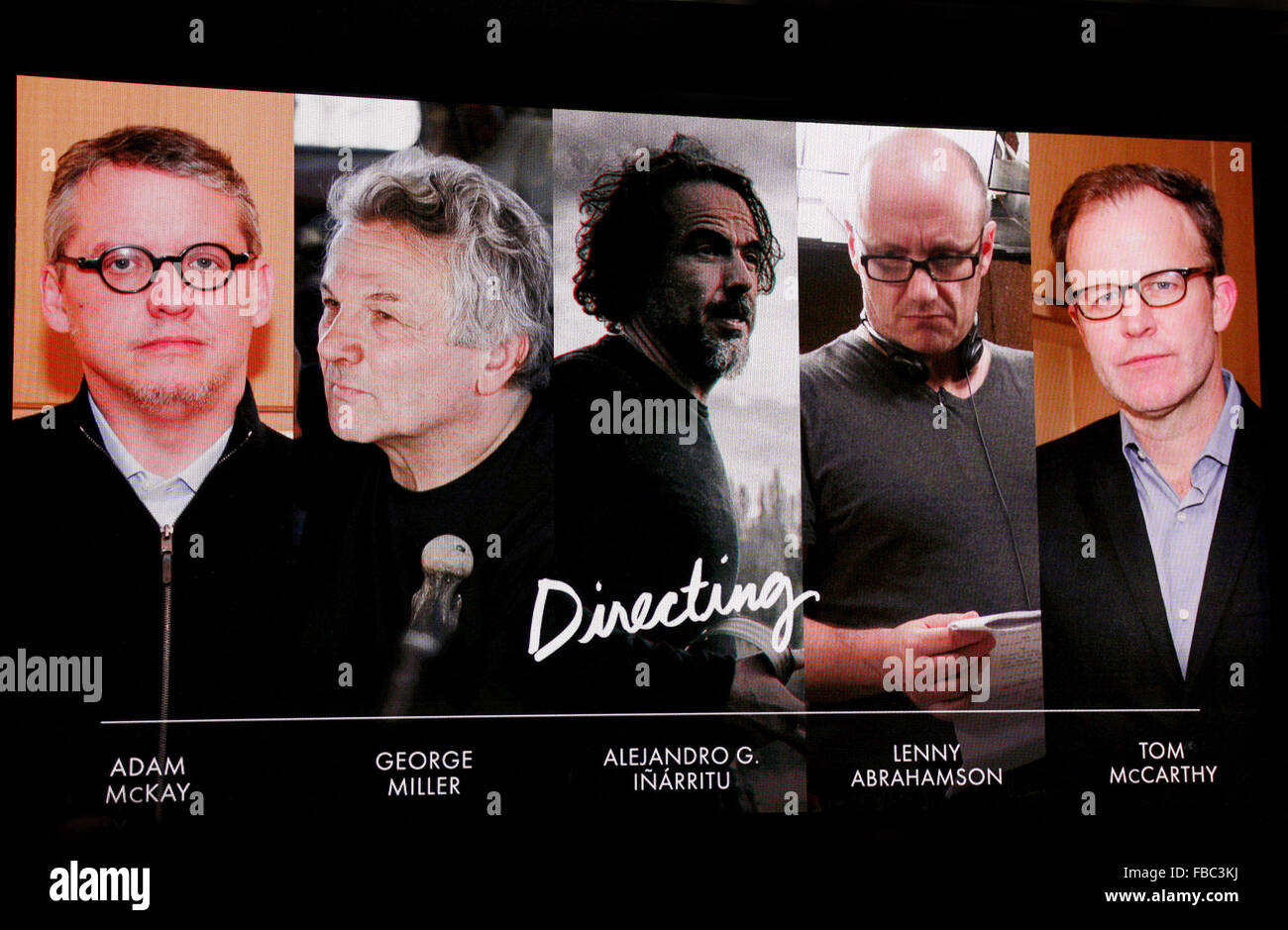 Los Angeles, California, USA. 14th Jan, 2016. Directing nominees - 88th Oscars Nominations Announcement held at - Stock Image
