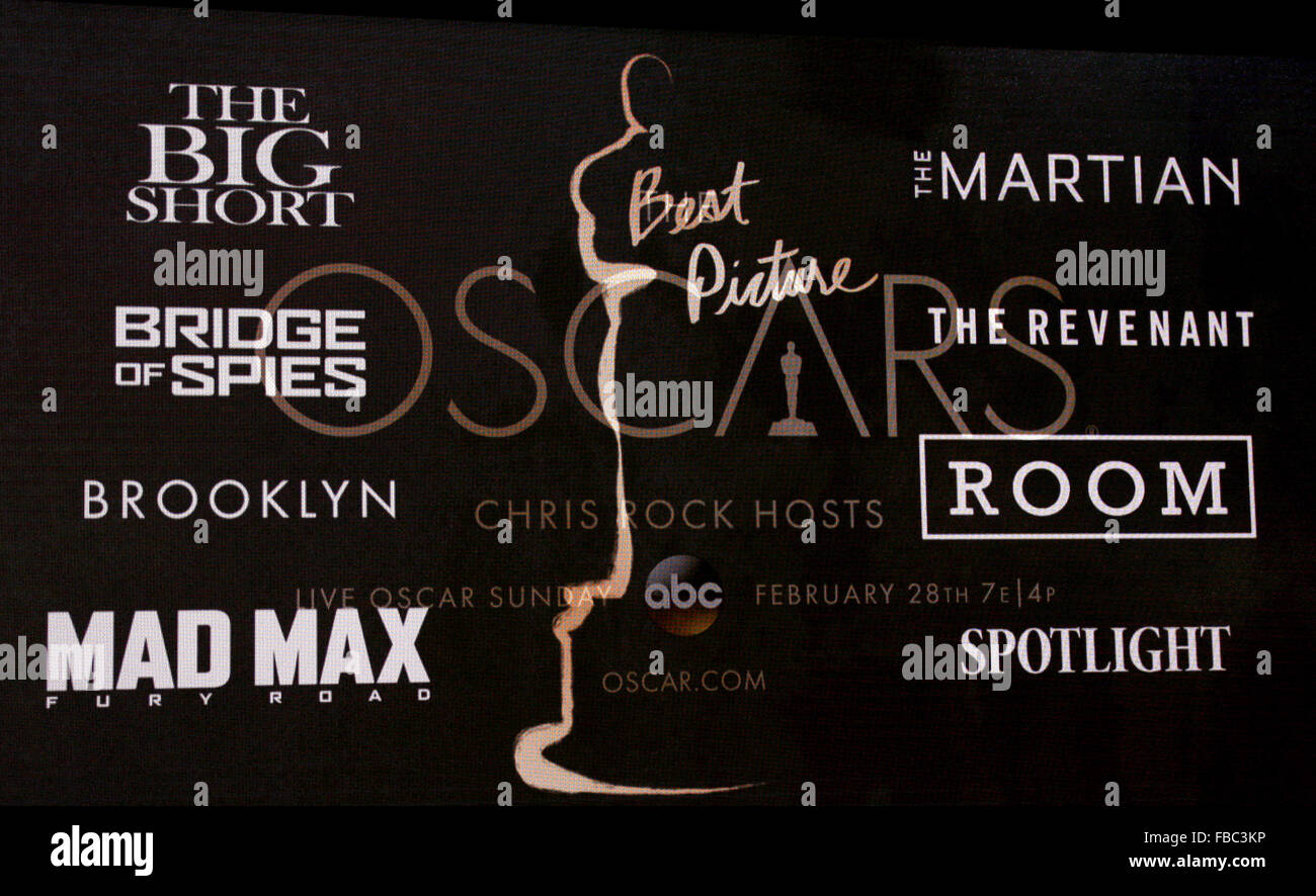 Los Angeles, California, USA. 14th Jan, 2016. Best Picture nominees - 88th Oscars Nominations Announcement held - Stock Image